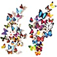 eoorau 80PCS Butterfly Wall Decals Wall-3D Butterflies Wall Decor Removable Mural Stickers Home Decoration Kids Room Bedroom