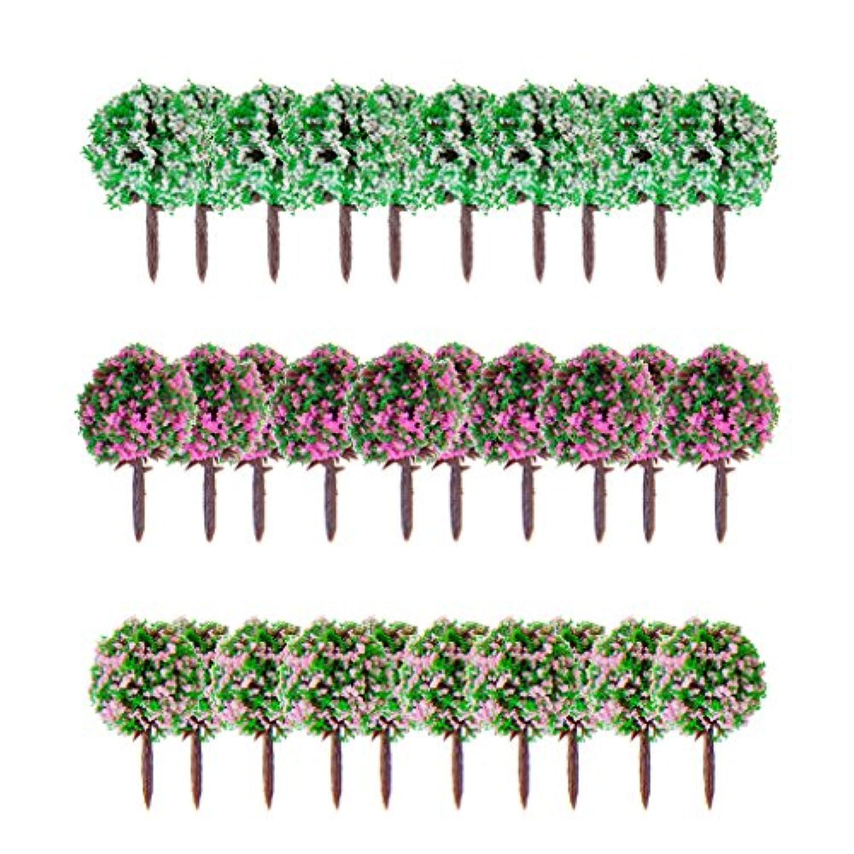 30pcs 三色 模型用 樹木 建築鉄道電車模型 混合色の花 淡いピンク花 濃いピンク花 白い花 木 高さ3.5cm  スケール1/100