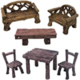 Trasfit 6 Pieces Miniature Table and Chairs Set, Fairy Garden Furniture Bench Ornaments Kit for Dollhouse Accessories, Home M