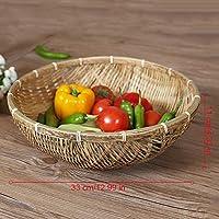 天然手作り竹製バスケット 収納かご 缶 野菜や果物のプレート 排水バスケット スナック収納バスケット おしゃれ