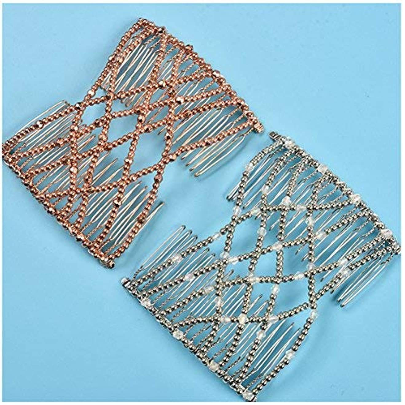 Lovef 2pcs Fashion Magic Beaded Elasticity Double Hair Comb Clip Stretchy Women Hair Accessories [並行輸入品]