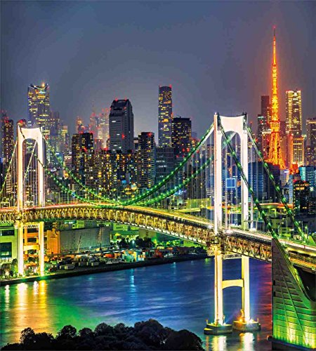 Landscape布団カバーセットby Ambesonne、東京スカイラインwith東京タワーとレインボーブリッジ東京日本Night景色ビュー、装飾寝具セットwithピロー、グリーンネイビー キング nev_18066_king