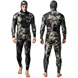 Nataly Osmann Camo Spearfishing Wetsuits Men 3mm /1.5mm Neoprene 2-Pieces Hooded Long Sleeve Scuba Diving Suit Full Body Keep