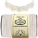 Macrame Cord, 4mm X 288 Yards 100% Natural Cotton Macrame Rope, 3 Strands Creamy White Cotton String for Handmade Craft Weddi