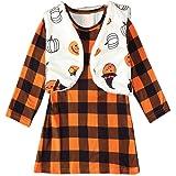 Baby Girl Halloween Outfits Little Girls Funny Pumpkin Print Vest with Long Sleeve Plaid Dress Skirt Set