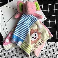 ShowkingキュートComfortersおもちゃコットンタオルソフトハンドタオルベビー掛け布団Toys Plush Cute Elephantおもちゃ_ピンク
