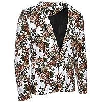 Men's Jacket Blazer Vintage Floral Men's Suit Jacket Slim Fit Stage Costume