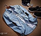メンズ ポロシャツ 2015 秋冬 デニムシャツ メンズ ゴルフ ポロシャツ 長袖 ゴルフウェア 長袖Tシャツ シャツ 長袖ポロシャツ アウトレット ウェア Tシャツ ノーブランド トップス ライトブルー ダークブルー fuku-2 (XL, ライトブルー)