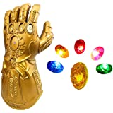 LED Light Up Thanos Infinity Gauntlet for The Avengers Electronic Fist PVC Gloves with Batteries - Gold Red Adults