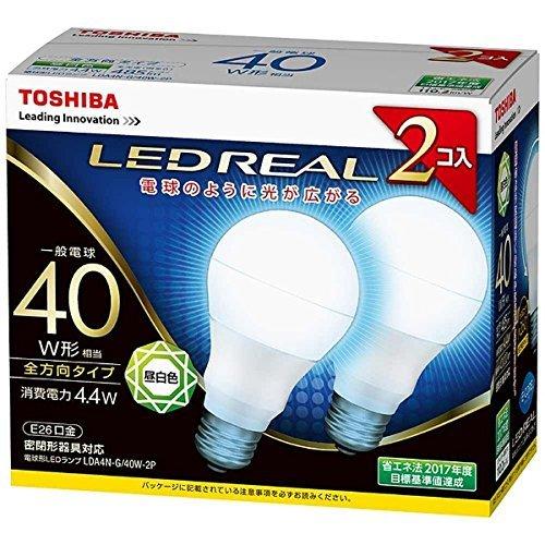 東芝 (TOSHIBA) LED電球 一般電球形 485lm(昼白色相当)【2個セット】TOSHIBA E-CORE(イー・コア)全方向タイプ LDA4N-G/40W-2P LDA4N-G/40W-2P 口金直径26mm