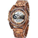木製腕時計, shifenmei S2139 天然木 軽量 男性 腕時計 メンズ ウッドウォッチ 電子時計 日付/夜光表示 木の時計 入学祝 就職祝 お誕生日 贈り物 木箱の包装 (かっしょく)