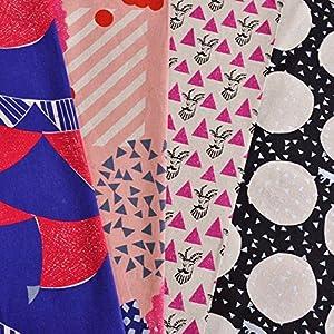 手芸のいとや 生地 綿麻キャンバス布 echino ラージカットアソート ピンクセット 生地幅-約105cm×約50cmカット 4枚入り 綿45%麻55%