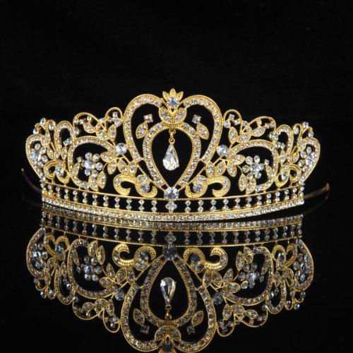 (アリスパブ クチュール)AlicePub Couture クリスタル ラインストーン 結婚式ティアラ ページェント パーティ 王冠 ヘッドピース,ゴールド
