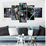 5 Pieces Izuku Anime Posters Oil Painting on Canvas My Hero Academia Wallpaper Living Room Decor Wall Stickers Background Dec