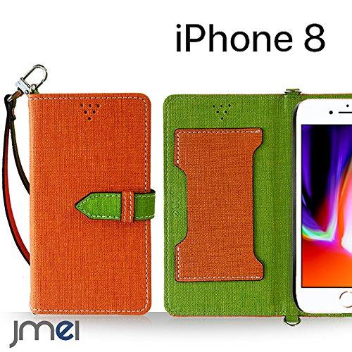 iPhone8 ケース手帳型 アイフォン8 カバー ブランド 手帳 閉じたまま通話ケース VESTA オレンジ iphoneケース simフリー スマホ カバー 携帯ケース 手帳型 スマホケース 全機種対応 ショルダー スマートフォン