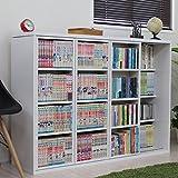 スライド 本棚 コミック トリプルスライド 書棚 DVD収納 DVDラック ホワイト TCP312WH