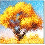 レモンツリーART お願いの木/銀杏の木/黄色い木/ラッキーの木 現代アートパネル モダンアートパネル 絵画 壁掛けキャンバス絵 アートフレーム 抽象画1枚で1セット( 50*50CM*1)