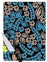 "KESS InHouse Maria Bazarova""Blue Flowers"" Black Floral Cutting Board, 11.5 x 15.75"", Multicolor [並行輸入品]"