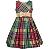 Bonnie Jean Christmas Dress - Holiday Red Green Plaid Dress for Toddler and Little Girls