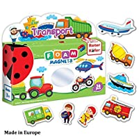 Roter Kafer冷蔵庫磁石磁石キッズ幼児Vehicles & Professions ( 36個)–冷蔵庫マグネットのアクティビティ–教育子供–幼児用磁石–ベビー車の磁石–形状マグネット