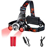 Head Torch Red Lighting LED Headlamp 4 Modes,Waterproof Adjustable Hands-free Torch Super Bright for Camping, Reading, Fishin
