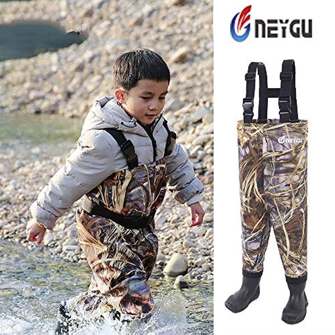 本部コンバーチブル安全Neygu幼児用&子供の通気性防水Waders Bootfoot胸Waders、4t、カモ