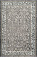 Momeni Rugs KERMAKE-01SVL3B57 Kerman Collection Antique Persian Inspired Traditional Area Rug 3'11 x 5'7 Silver [並行輸入品]