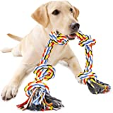 Dog Rope Toys for Aggressive Chewers, Interactive Heavy Duty Dog Toys for Medium Large Dogs, Tough Twisted Rope Toy with 5 Kn