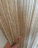 macaroni(マカロニ) キラキラ ストリング フリンジ カーテン 100 × 200 cm ひも のれん 間 仕切り インテリア (1 シャンパンゴールド)