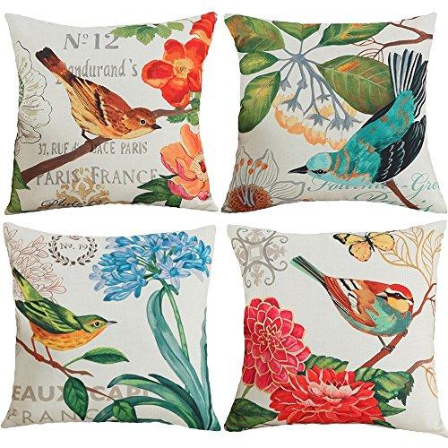 クッションカバー 4枚セット 45×45cm 枕カバー おしゃれ 北欧 可愛い 花柄 綿麻製 部屋雑貨 ソファー 車用 インテリア 飾り 抱き枕カバー 鳥柄 自然の風景
