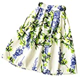 (アリルチョウ) スカート ひざ丈 フレア プリーツ 花柄 きれいめ ハイウエスト レディース 白 ホワイト