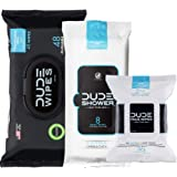 DUDE Wipes Flushable (48ct), DUDE Shower Body Wipes (8ct), & DUDE Face Wipes (30ct) Unscented with Vitamin-E & Aloe - Head to