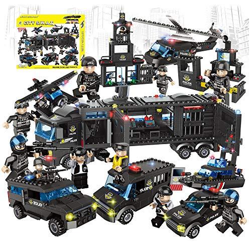 City Swat 警察ミニフィギュアセット 8 in 1 モバイルコマンドセンター トラック & パトロールカー レゴ互換ビルディングブロック おもちゃ -1095ピース