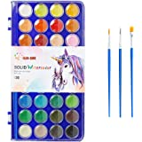 36 Colors Watercolor Paint,with 3 Paint Brushes,Watercolor Palette Paint Set for Adults and Kids,Art Supplies for Beginners a