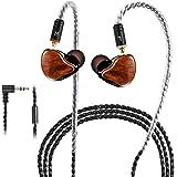イヤホン 1BA+1DD インイヤー 重低音 MMCX カナル型 3.5mmプラグ ハイブリッド ipx6 防水防汗 音漏れ防止 高遮音性 軽量 HIFIイヤホン リケーブル 着脱式 Android/iPhone/PC多機種対応 有線 (ウッド-マイ