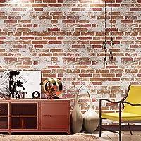 "Dwind D371508 風化した灰色の洗ったレンガの壁紙、テクスチャフェイクレンガウォールペーパー - 3D効果取り外し可能 20.8"" x 33ft ホームルームの装飾"