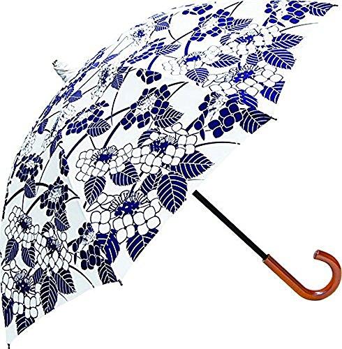 サントス 日傘 UVカット 45cm 手開き式 百花涼藍 紫陽花 JK-65