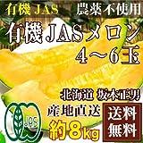 奇跡の有機JASメロン(赤肉) 4~6玉(約8kg)(北海道 坂本正男)農薬不使用 有機JAS 自然農法