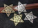 ◇透かしパーツ 星 34*35mm 10個入り 真鍮古美 シルバー ゴールド ニッケル 4色展開 メタルチャーム 薄い スター star pars ニッケル