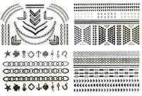 新しいジュエリーInspiredメタリックゴールド&シルバーTemporary Tattoos 4シートt5
