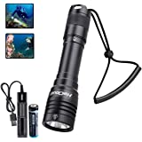 HECLOUD IPX8 Water-Resistant Waterproof Flashlight Professional Scuba Diving Light with Rechargeable Battery and USB Charger