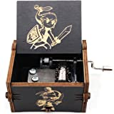 Pursuestar Black Wood Hand Crank Laser Engraved Vintage Wooden Music Box Wedding Valentine Christmas Birthday Musical Legend
