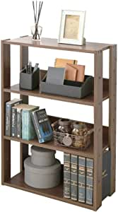 アイリスオーヤマ ラック ディスプレイ リビング収納 本棚 靴箱 下駄箱 木製 4段 幅60×奥行29.2×高さ87.9cm ブラウン OWR-600