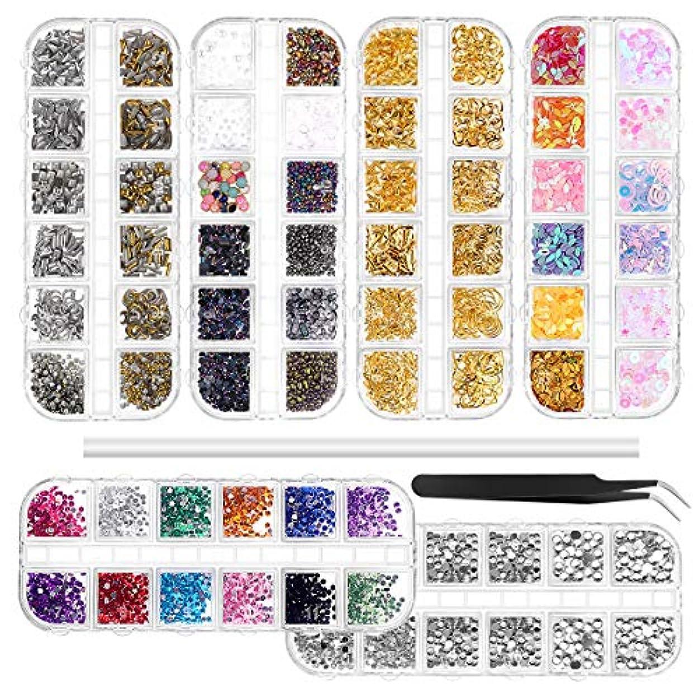 ピンク擁する分布Frcolor ネイルパーツ ネイルデコパーツ ジュエリー ストーン メタルパーツ ネイル用 アートパーツ 3D ステッカー 収納ケース付き 6個セット(ピン1本+ピッカー鉛筆1本)