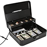 Jssmst Large Locking Cash Box with Money Tray, Metal Money Box with Combination Lock Large Black