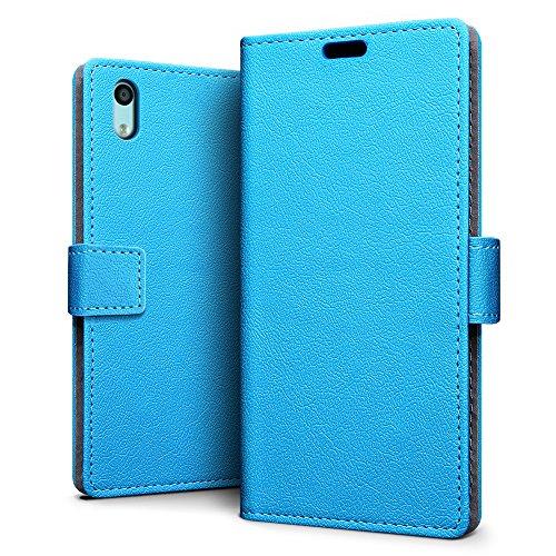 SLEO 京セラ Android One S4/DIGNO Jケース 京セラ Android One S4保護カバー ダイアリー式 最軽量 超薄型 シンプル合成レザー スタンド機能付き カードスロット付属 京セラDIGNO J ケース 手帳型 - ブルー