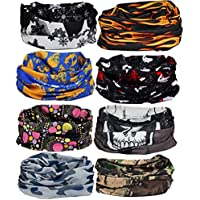 kilofly 6/8 pc Multi-purpose Seamless Headwear Bandanas Mixed Set Value Pack