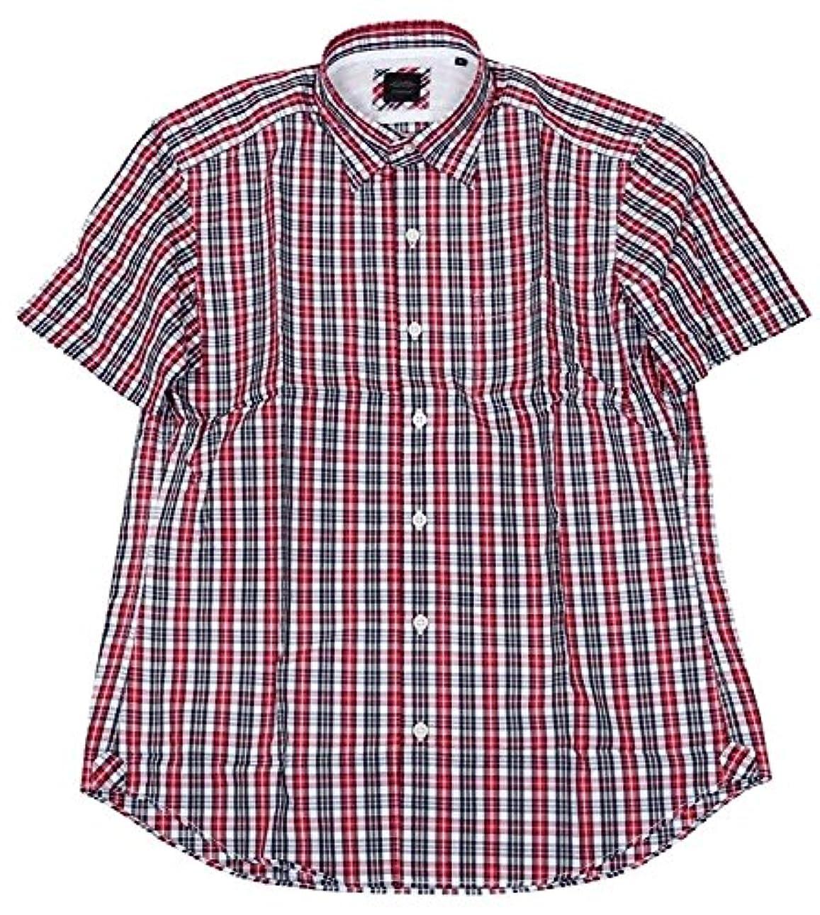 高揚したミント後【D'URBAN】ダーバン カラーチェック SD カジュアルシャツ(半袖) 赤