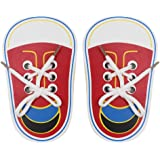 (Pack of 2) Wooden Lacing Shoe Toy Learn to Tie Shoelaces, Fine Motor Skills Toy Threading Toy Board Game for Kids