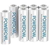 Powerowl単4形充電式ニッケル水素電池8個セット 大容量 自然放電抑制 環境保護 電池収納(1000mAh、约1200回循環使用可能)